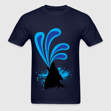 Wolf Fountain (Navy) - Men's T-Shirt