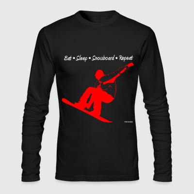 Eat Sleep Snowboard Repeat 002 - Red Long Sleeve Shirts - Men's Long Sleeve T-Shirt by Next Level