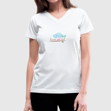 Women's Blue Wave of Change V-Neck T (White Cotton) - Women's V-Neck T-Shirt