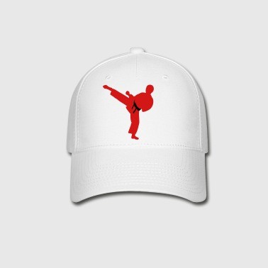 Adult white cap with red figure and black belt - Baseball Cap