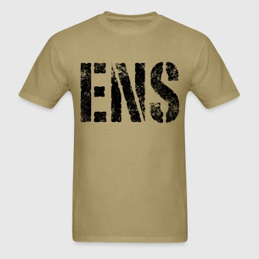 ENS rank black distressed print - Men's T-Shirt