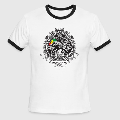 White/black Rasta Spade T-Shirts - Men's Ringer T-Shirt
