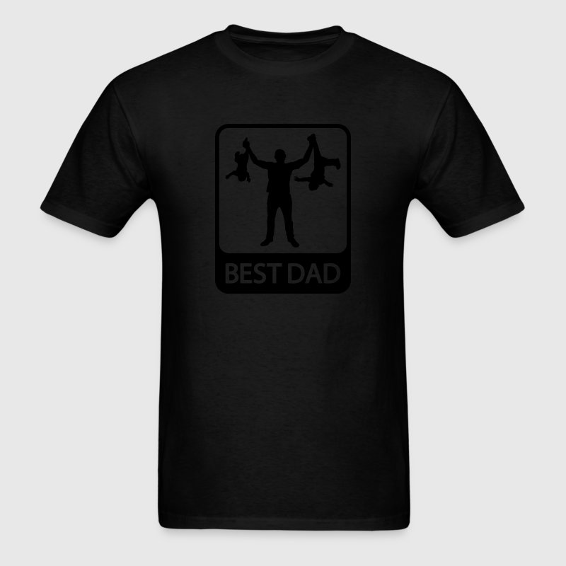 Best Dad - Funny Silhouette of Father and Children - Men's T-Shirt