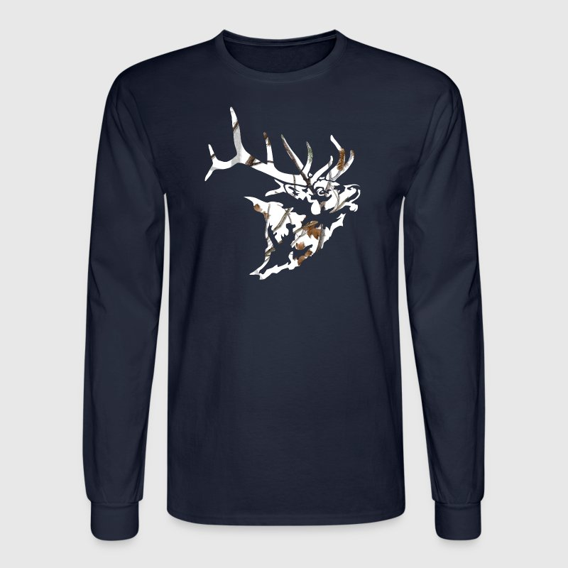 Snow Camo Elk Head - Men's Long Sleeve T-Shirt
