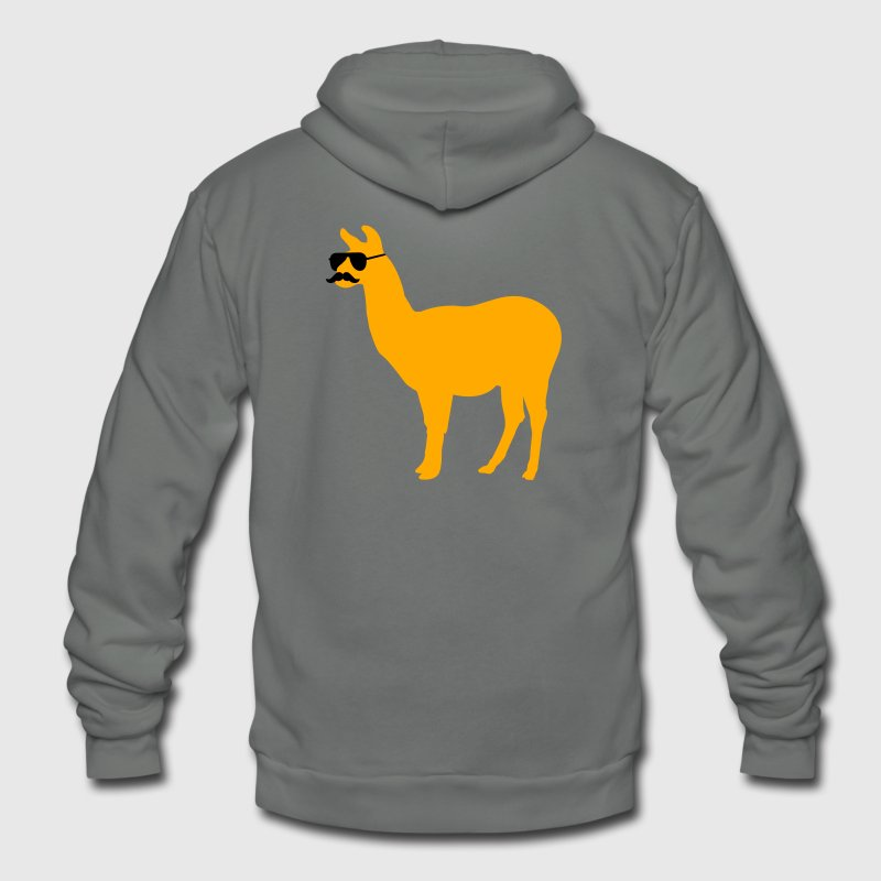 Funny llama with sunglasses and mustache Zip Hoodies & Jackets - Unisex Fleece Zip Hoodie by American Apparel