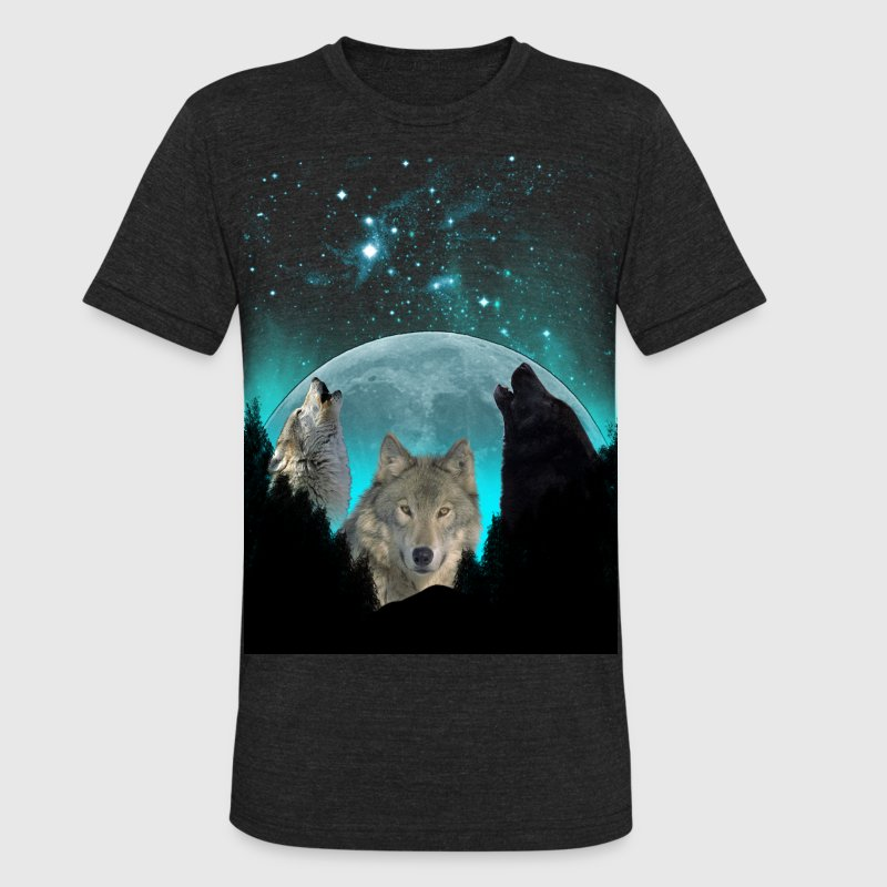 Wolves Twilight Harvest Moon  T-Shirts - Unisex Tri-Blend T-Shirt by American Apparel