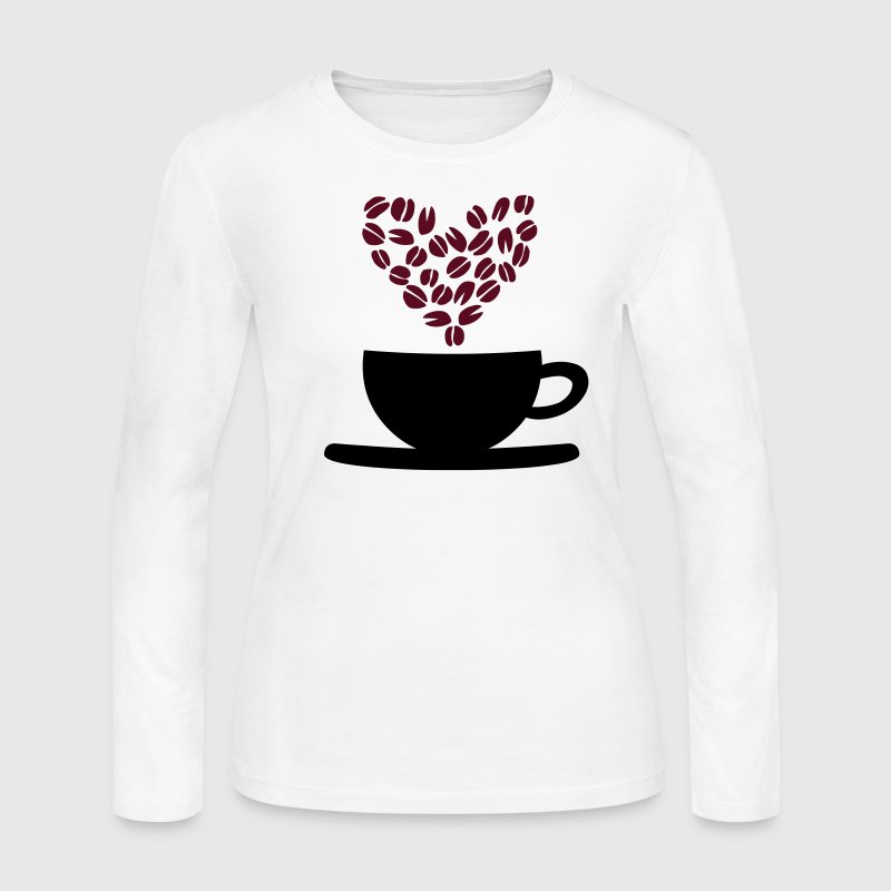 Coffee Cup and Beans Long Sleeve Shirts - Women's Long Sleeve Jersey T-Shirt