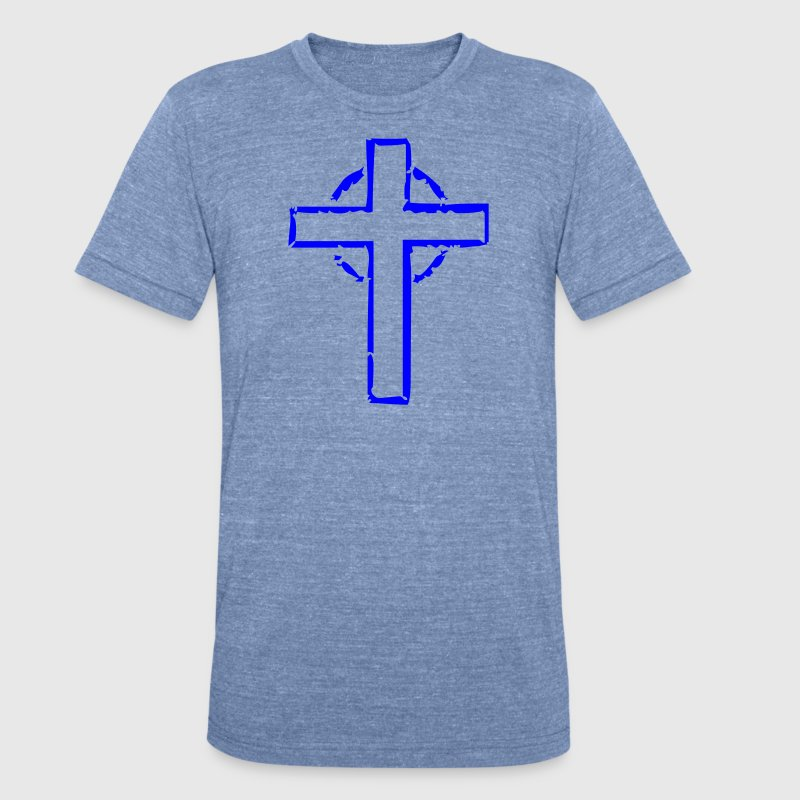 Distressed Cross Clothing Apparel Shirts T-Shirts - Unisex Tri-Blend T-Shirt by American Apparel