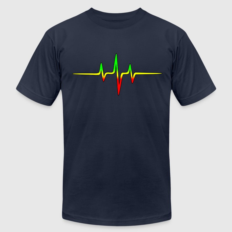 Music Pulse, Reggae, Sound Wave, Rastafari, Jah,  T-Shirts - Men's Fine Jersey T-Shirt