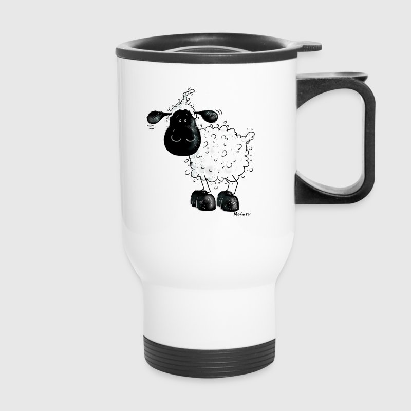 Cute Black Sheep Cartoon Bottles & Mugs - Travel Mug