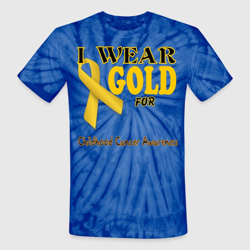 I wear gold for childhood awareness template T-Shirts - Unisex Tie Dye T-Shirt