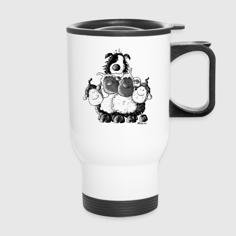 Border Collie And Sheep - Dog Bottles & Mugs - Travel Mug