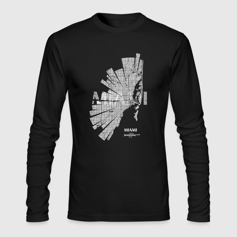 Miami Map Long Sleeve Shirts - Men's Long Sleeve T-Shirt by Next Level
