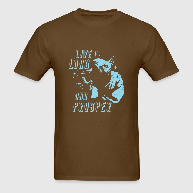 Star Wars Yoda Star Trek Mr Spock Live Long - Men's T-Shirt