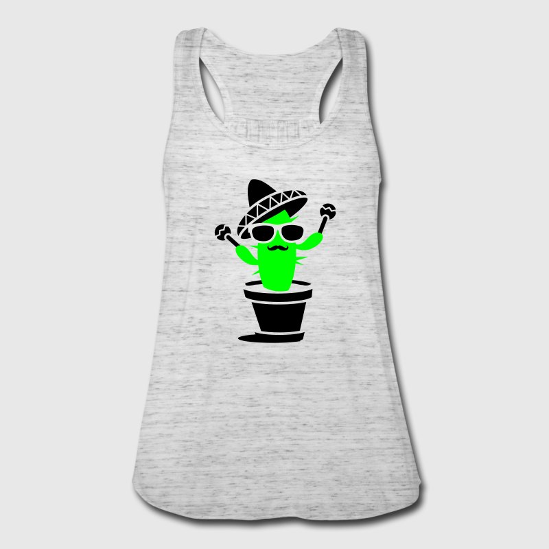 Cactus with sombrero and maracas  Tanks - Women's Flowy Tank Top by Bella