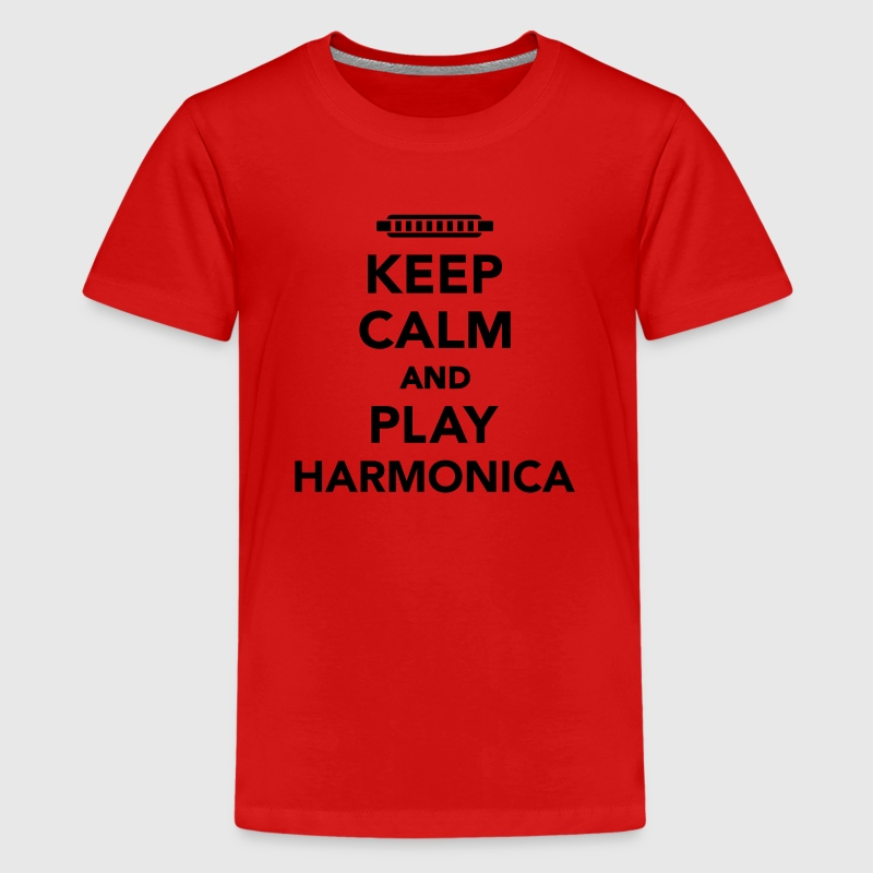 Keep calm and Play Harmonica Kids' Shirts - Kids' Premium T-Shirt