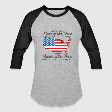 Land of the Free USA Flag Hoodies - Baseball T-Shirt