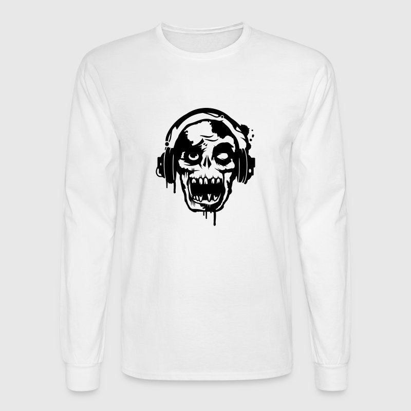 a zombie with headphones  Long Sleeve Shirts - Men's Long Sleeve T-Shirt