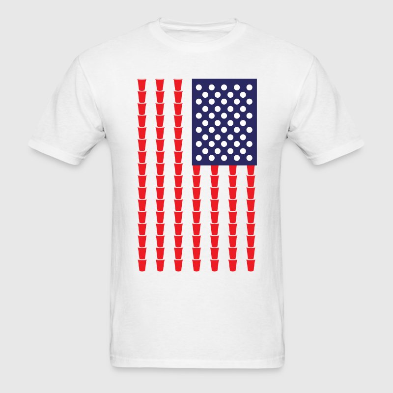 BEER PONG AMERICAN FLAG T-Shirts - Men's T-Shirt
