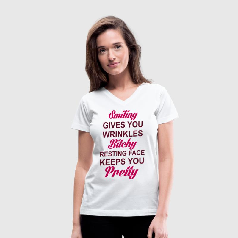 SMILING GIVES YOU WRINKLES RESTING BITCH FACE KEEP Women's T-Shirts - Women's V-Neck T-Shirt