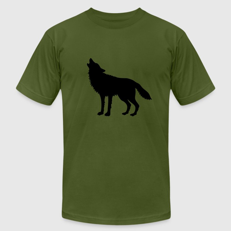 Howling Wolf (Silhouette) T-Shirts - Men's T-Shirt by American Apparel