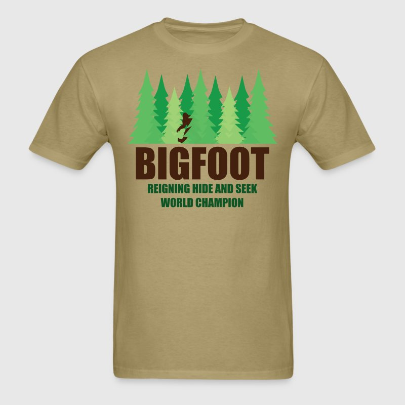 Bigfoot Sasquatch Hide and Seek World Champion T-Shirts - Men's T-Shirt