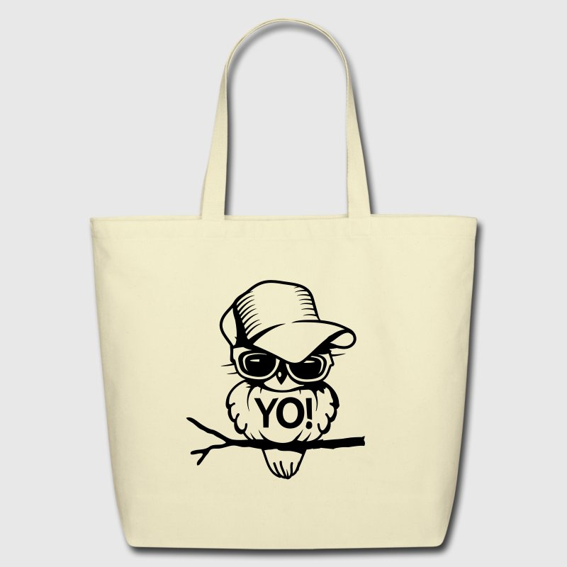 Bird with sunglasses and baseball cap Bags & backpacks - Eco-Friendly Cotton Tote