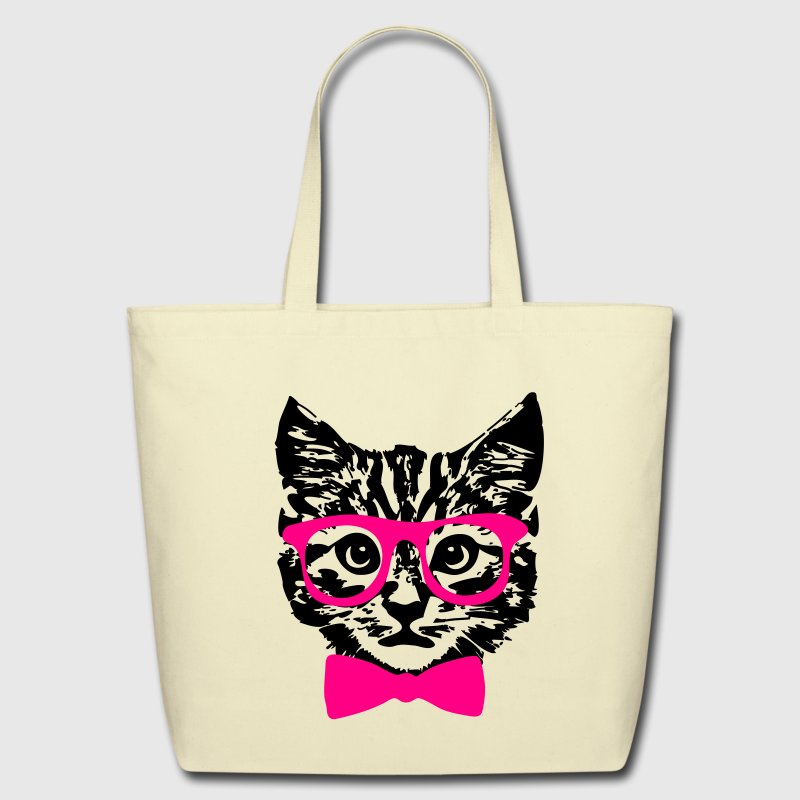 Hipster Kitten Baby Cat with Glasses  Bags & backpacks - Eco-Friendly Cotton Tote