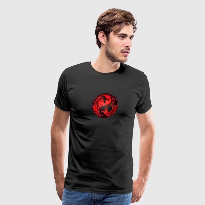 Yin Yang Dragons Red and Black T-Shirts - Men's Premium T-Shirt