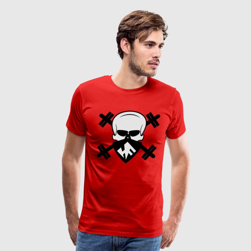 Hardcore Fitness Skull With Barbells T-Shirts - Men's Premium T-Shirt
