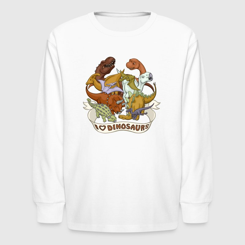 I Heart Dinosaurs Kids' Shirts - Kids' Long Sleeve T-Shirt