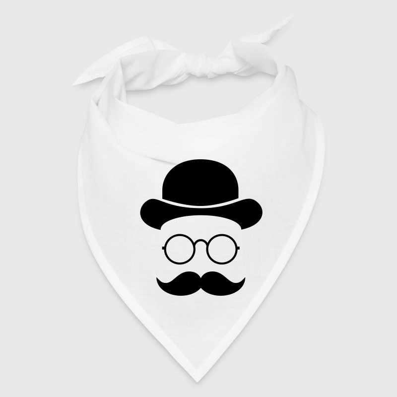 Funny vintage face with Moustache & Glasses Caps - Bandana