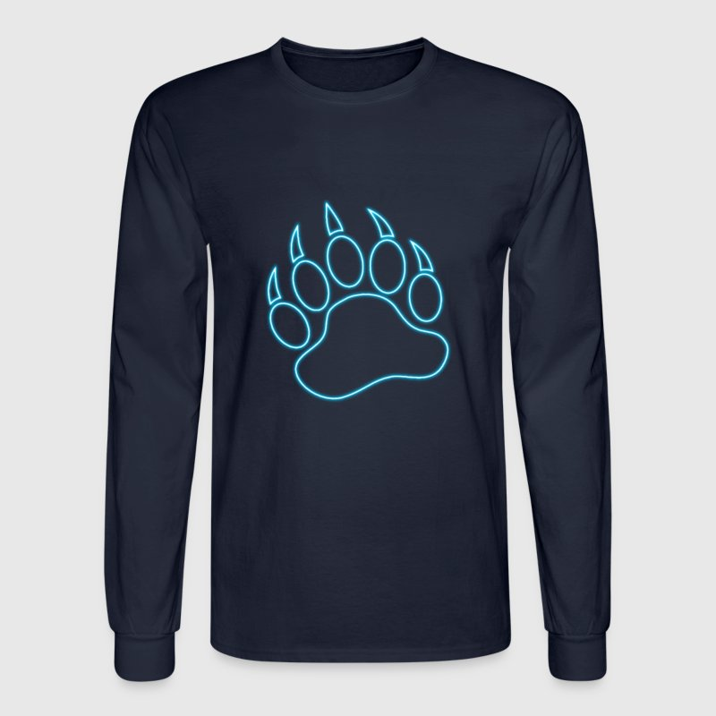 Neon Blue Bear Paw - Men's Long Sleeve T-Shirt