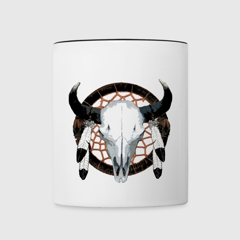 Bison skull on dream catcher  - Contrast Coffee Mug
