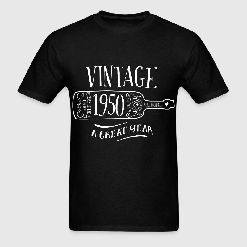 Vintage Age, 1950, Birth Year, Wine Bottle - Men's T-Shirt