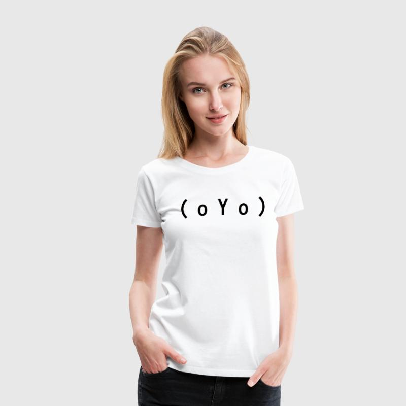 Big Tits (oYo) Boobs Sexy Text Emoticon T-Shirts - Women's Premium T-Shirt