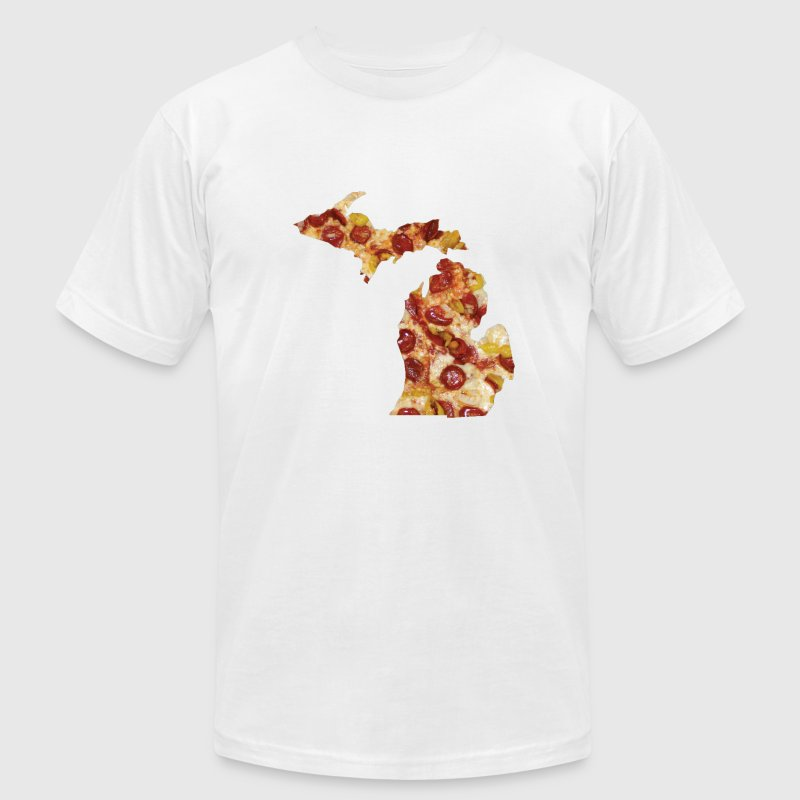 Michigan Shaped Pizza Parody Humor Funny Shirt Tee T-Shirts - Men's T-Shirt by American Apparel