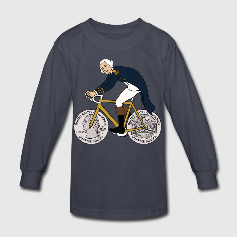 george washington on bike with quarter wheels Kids' Shirts - Kids' Long Sleeve T-Shirt
