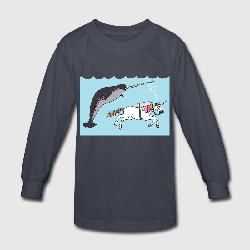 narwal swimming with unicon Kids' Shirts - Kids' Long Sleeve T-Shirt