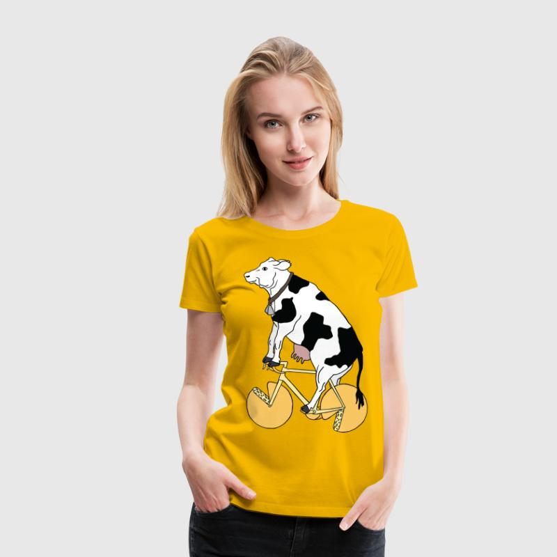 cow riding bike with cheese wheels Women's T-Shirts - Women's Premium T-Shirt
