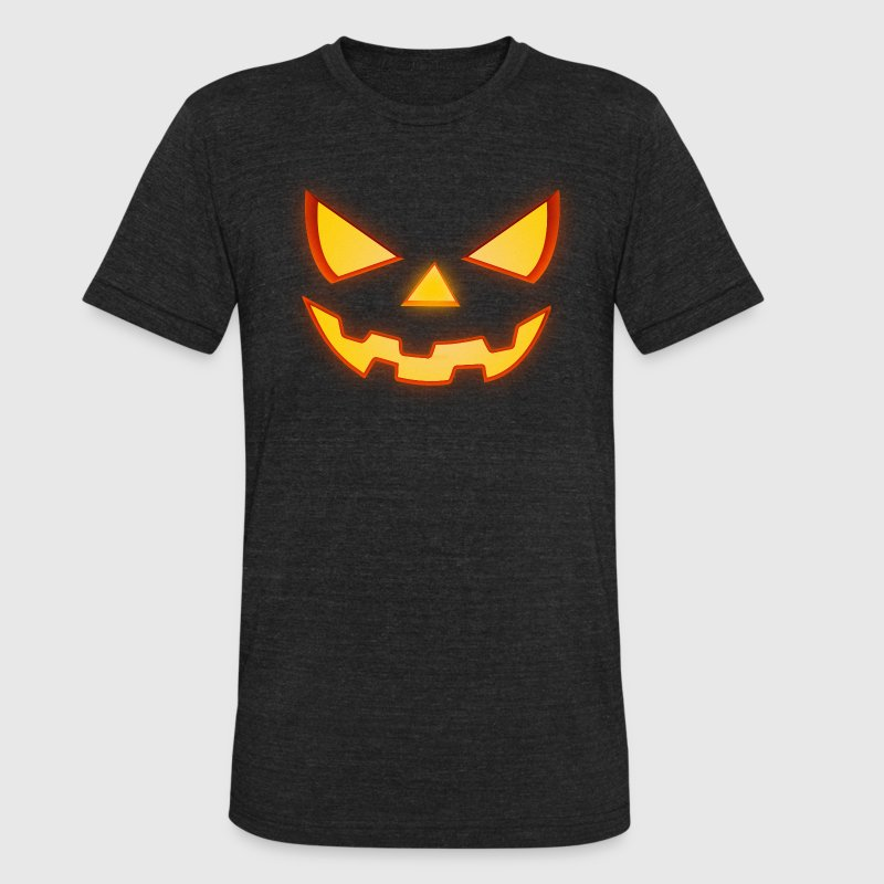Scary Halloween Horror Pumpkin Face T-Shirts - Unisex Tri-Blend T-Shirt by American Apparel