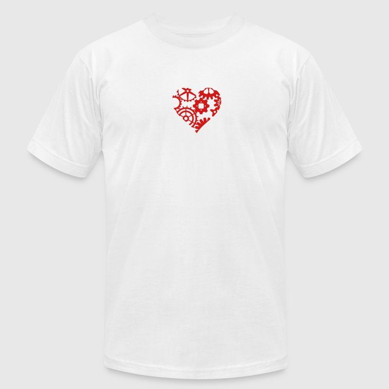 Steampunk Heart of Gear Cogs T-Shirts - Men's T-Shirt by American Apparel