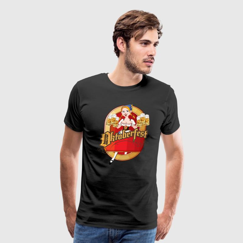 Oktoberfest - Cartoon Pin-up Blond German Beer Gir T-Shirts - Men's Premium T-Shirt
