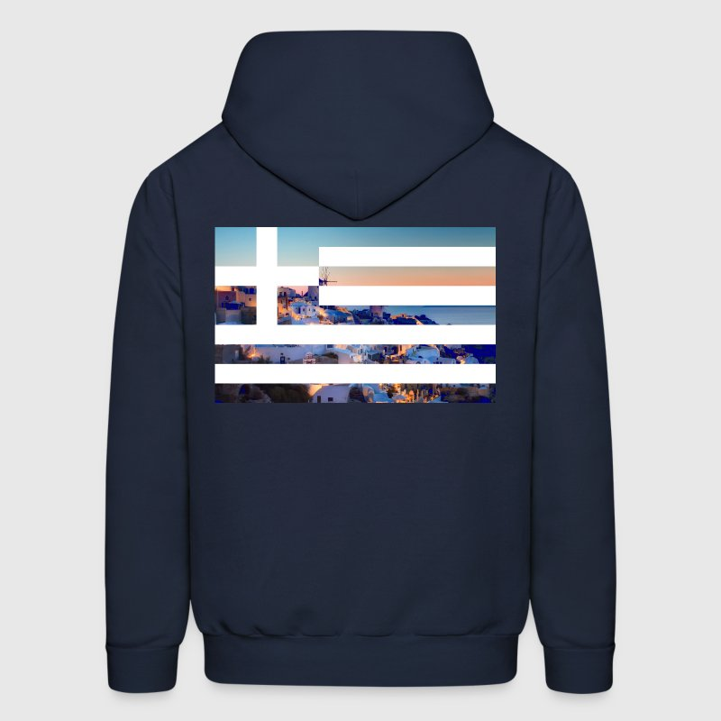 Santorini ft. Greece flag Hoodies - Men's Hoodie