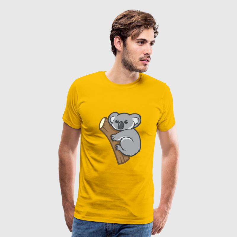 funny cartoon koala on a branch - Men's Premium T-Shirt