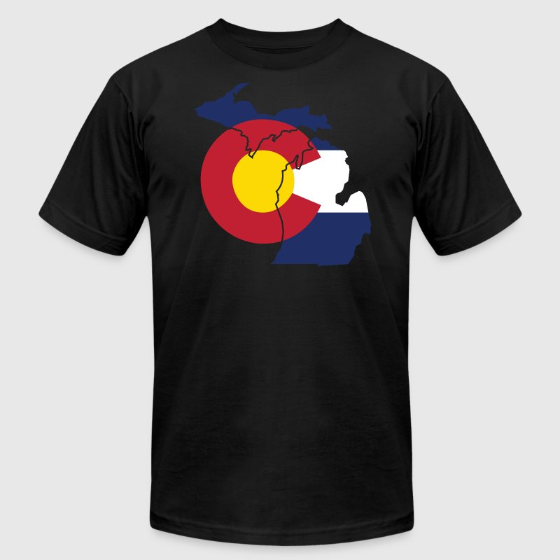 Michigan Colorado Funny Pride Flag Apparel T-Shirts - Men's T-Shirt by American Apparel