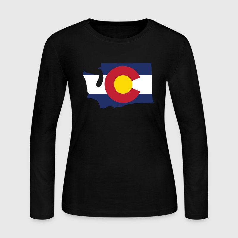 Washington Colorado Funny Pride Flag Apparel Long Sleeve Shirts - Women's Long Sleeve Jersey T-Shirt