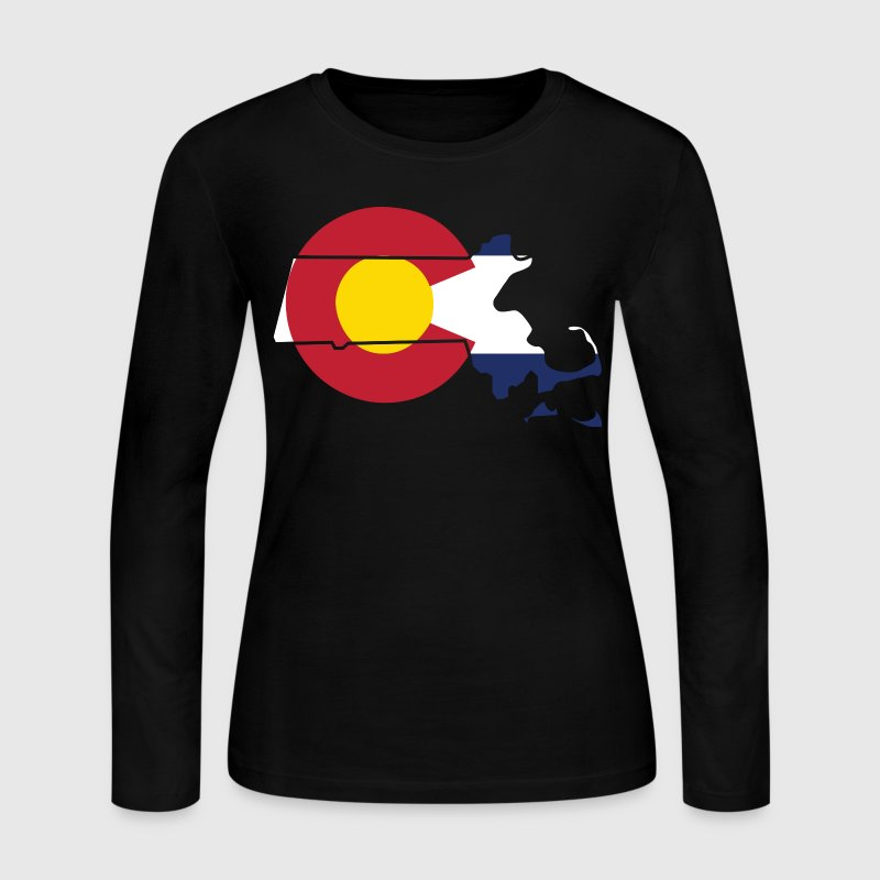 Massachusetts Colorado Funny Pride Flag Apparel Long Sleeve Shirts - Women's Long Sleeve Jersey T-Shirt