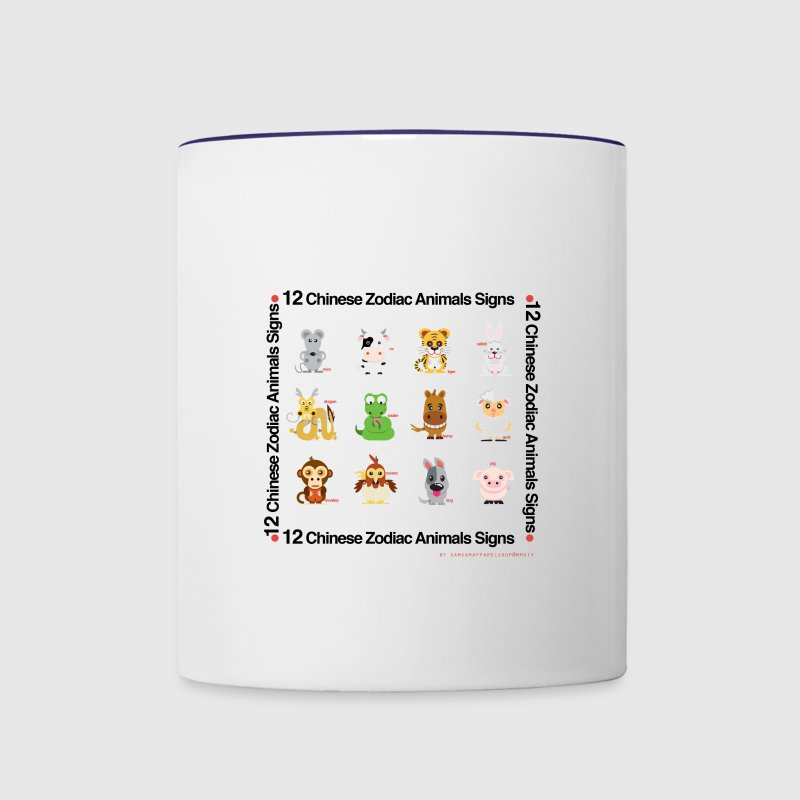 12 chinese zodiac animals - Contrast Coffee Mug