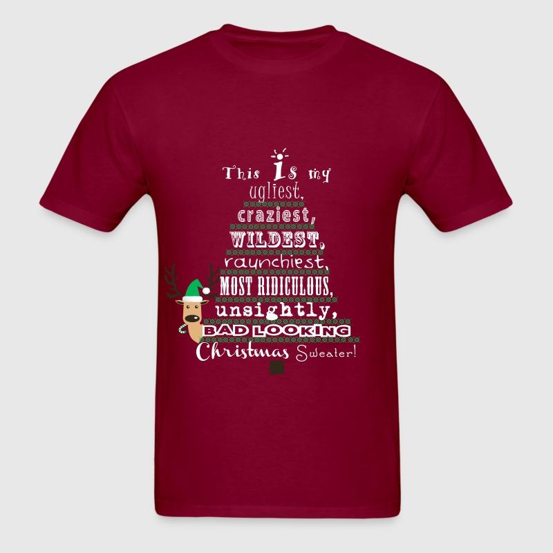 Ugly christmas sweater t shirt spreadshirt for Tacky t shirt ideas